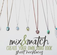 Long necklaces not your thing? Need a short layering necklace? We've got you covered!  #mixnmatch #bohonecklace #boho #necklace #createyourown #turquoise #jewelry #leoandlovey #etsyshop #etsyseller