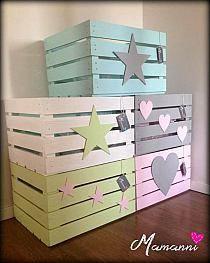 Joanna Debernic na Stylowi.pl Wood Crates, Wood Boxes, Baby Room Decor, Nursery Decor, Kids Decor, Diy Home Decor, Crate Crafts, Diy Casa, Girl Bedroom Designs