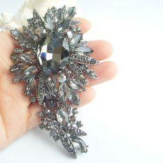 Vintage Style Gray Rhinestone Crystal Flower by VanessaJewel