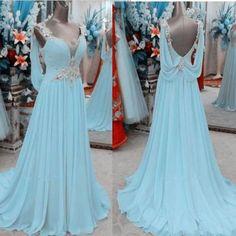 Light Sky Blue Prom Dress