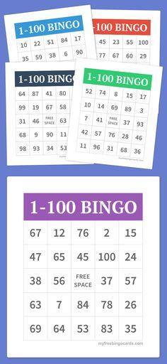 1-20 number bingo cards for kids Preschool Pinterest