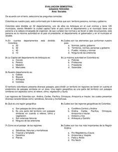 EVALUACION SEMESTRALGRADOS TERCEROÁrea: SocialesDe acuerdo con el texto, seleccione las preguntas correctas:Colombia es nu...
