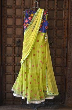 Ridhi Bansal lehenga blue and yellow