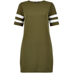 New Look Teens Khaki Stripe Sleeve Tunic Dress ($19) ❤ liked on Polyvore featuring dresses, khaki, stripe dresses, new look dresses, brown striped dress, sleeved dresses and khaki dress