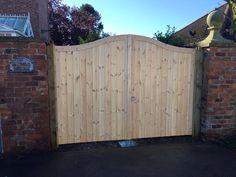 Bespoke gates fitted bt Atkinsons fencing Garden Fence Panels, Garden Fencing, Drive Gates, Garden Buildings, Bespoke, Garage Doors, Shed, Deck, Outdoor Decor