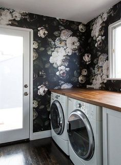 Harlow & Thistle - Home Design - Lifestyle - DIY: One Room Challenge Spring 2017 - Week 1 Laundry Room Wallpaper, Kitchen Wallpaper, Chic Wallpaper, Home Design, Black Floral Wallpaper, Interior Exterior, My Living Room, Home Renovation, Home Improvement