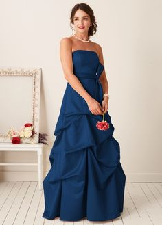 """David's Bridal bridesmaid gown, style #81123, in """"Marine""""."""