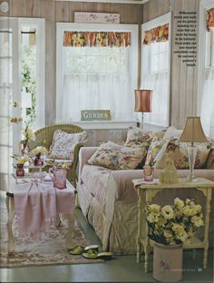 MY SUNROOM TOTALLY   SLIPCOVER SOFA  RUDG SHORT COLORFUL VALANCE PILLOWS FOR SWING AND SOFA  WICKER CHAIR PAINTED  SO NEED THIS     love this