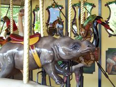 St. Louis Zoo Carousel (L-R) Black Rhino, Snakes, and Saddle Bill Stork
