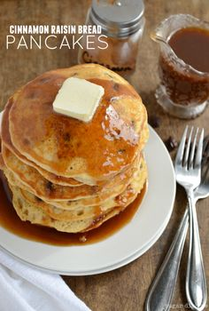 Cinnamon Raisin Bread Pancakes with Cinnamon Syrup - this is the pancake recipe that will blow your mind.