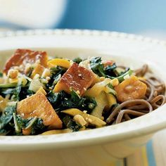 Stir-Fried Tofu and Spring Greens with Peanut Sauce by Cooking Light