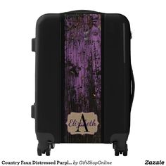 Country Faux Distressed Purple Wood Personalized Luggage