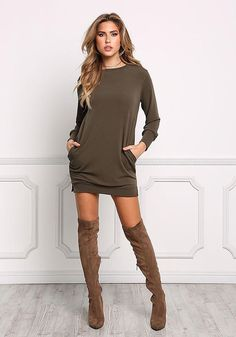 These Pullover are made to take wardrobe from basic to effectively fab in moments. Get encouraged pullover outfit half zip Cute Spring Outfits, Fall Winter Outfits, Cute Outfits, Olive Jeans, Jersey Knit Dress, Junior Outfits, Dress With Boots, Fashion Outfits, Womens Fashion