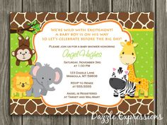Printable Jungle Baby Shower Invitation - Gender Neutral - Girl or Boy Safari Party Imprimibles Baby Shower, Baby Shower Invitaciones, Baby Shower Invitation Wording, Baby Shower Invitations For Boys, Safari Invitations, Invitation Cards, Safari Party, Baby Shower Cristiano, Baby Shower Themes Neutral