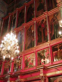 The Archangel Michael Cathedral interior is entirely covered with holy icons. It is a Russian Orthodox church dedicated to the Archangel Michael; it's located in Cathedral Square of the Moscow Kremlin in Russia between the Great Kremlin Palace and the Ivan the Great Bell Tower.