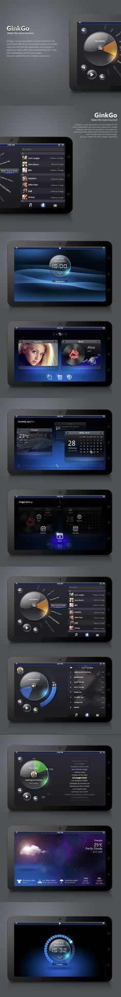 GinkGo *** Ginkgo is a new generation of smart tablet PC OS (concept). Cool visual effects and innovative interaction models make you live the next generation of products in advance. It make office and entertainment all in one multitasking and cloud storage.
