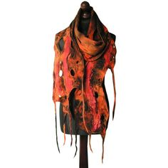 Felted scarf felt scarf felted collar handmade art to wear orange... (£63) ❤ liked on Polyvore featuring accessories