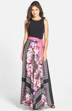 Eliza J Print Crêpe de Chine Maxi Dress available at #Nordstrom