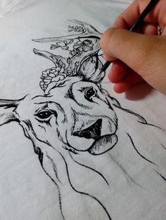 painting paint T-shirt T-shirt handmade handmade deer drawing animal drawing love