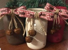 Hand painted rustic mason jar Christmas decor set. Each jar is painted by hand, distressed, and sealed for a matte finish. This is great to add a rustic country feel to your home and makes the perfect set to welcome in a new season! Great as a centerpiece on the dining table or