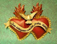 Nuestros corazones unidos para siempre. Arte mexicano en hojalata <3