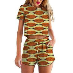 African Ankara dashiki print short sleeve crop tops and short pants - Owame African Print Pants, African Print Fashion, Africa Fashion, Latest Fashion For Girls, Latest Fashion Dresses, Fashion Outfits, African Wear, African Dress, African Women