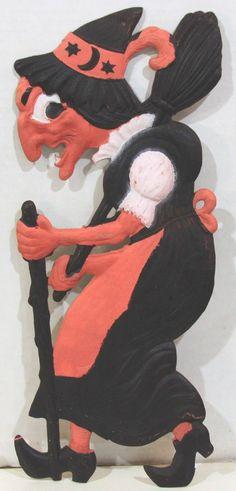 1920 30s German Pressed Die Cut Scary Witch Halloween Decoration | eBay