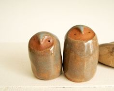 Two Simple Owls in Ceramic Clay Modern and Minimalist by Iktomi, $28.00