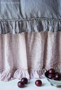 French Grey and Powder lavender luxury bedding from Bella Notte Linens - Love the Linen Whisper Dust Ruffle!