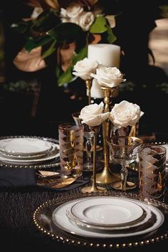 Old Hollywood Glam Wedding Inspiration I have a bunch of brass candlesticks exactly like these. Topping them with flowers is a great idea, especially if your venue doesn't allow open flames. Old Hollywood Wedding, Old Hollywood Glam, Hollywood Theme, Great Gatsby Wedding, Home Wedding, Wedding Ideas, 1920s Wedding, Wedding Details, Vintage Glamour Wedding