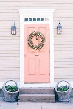 9 of the Best Paint Colors for Front Doors - pink front door, white trim, pantone blooming dahlia - Coral Front Doors, Unique Front Doors, Best Front Doors, Beautiful Front Doors, Front Door Paint Colors, Best Paint Colors, Painted Front Doors, Exterior Paint Colors, Paint Colors For Home