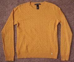 Women's 100% 2 Ply Cashmere Sweater Cable Knit Mustard Gold M Medium Marina Luna #MarinaLuna #Crewneck