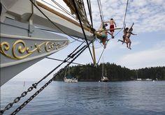 Schooner Mary Day celebrates 50 years of pleasure cruising (Photo: Robert F. Bukaty / AP)Jump off a schooner in Penobscot Bay. Mary Day, Fishing Shack, Mount Washington, Swimming Holes, His Travel, Travel News, Sailing, National Parks, Vacation