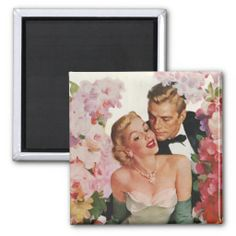Vintage Wedding Bride Groom Newlyweds Flowers Refrigerator Magnet
