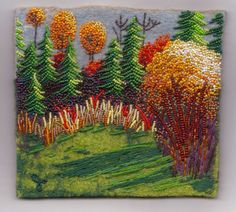 Cabin Yard: beads and yarns on felted wool by Jo Wood