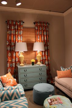 Just love this combination of colors! Bravo @CR Laine Furniture @crlaine #hpmkt #Tangerine #Blue #Teal #LimeGreen #White