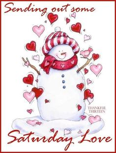 Sending out some Saturday love snowman hearts
