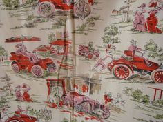 VTG TOILE Pictorial Cotton Novelty Print Fabric French Country Cars Red Pink 3yd #Unbranded