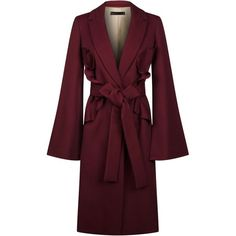 Elie Saab Split Sleeve Ruffled Insert Coat   Harrods.com (173.165 RUB) ❤ liked on Polyvore featuring outerwear, coats, ruffle coat, elie saab, purple coats and leather-sleeve coats
