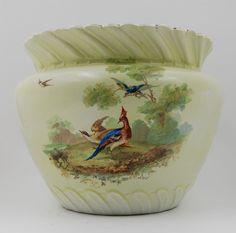 Limoges Antique  France Hand Painted Porcelain Jardiniere Vase  ~Game Birds ~
