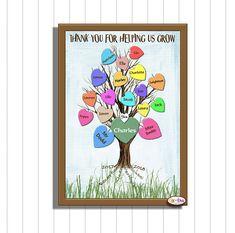 Class keepsake, Printable Teacher Gift, Teaching Assistant Gift, Children's Class List, Thank You For Helping Us Grow, Teacher Gift, Digital