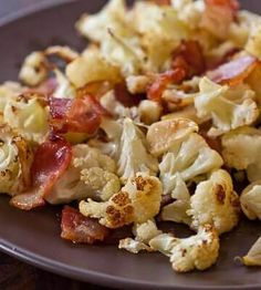 Simple roasted cauliflower recipe featuring bacon and garlicky goodness. From cookbook author and TV chef, Jaden of Steamy Kitchen.