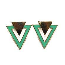 Enamel Triangle Earrings (Green)
