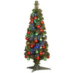 """Fiber Optics 3"""" Green Firework Artificial Christmas Tree with LED Multi Light and Stand"""
