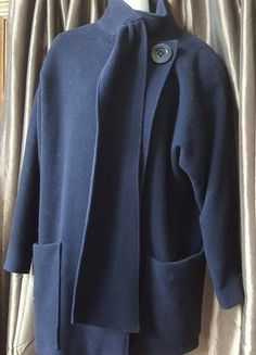 S.B.I.I by Bitterman navy blue wool pea coat made in Hungary sz 7/8