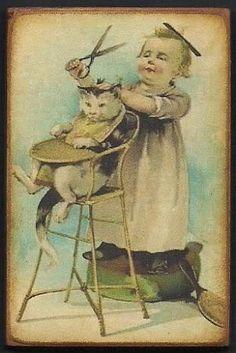 Wood Magnet Cat Little Girl Humorous Vintage Style Postcard Print 157 | eBay