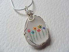 Rainbow-flowers-hand-painted-sea-glass-necklace-18-sterling-silver-chain