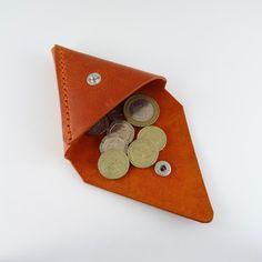 Caso in pelle arancione triangolo portamonete di SoutiniBoutique