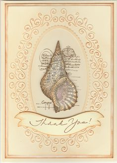 Shell Collage by Impression Obsession D13024. Card by Susan of Art Attic Studio