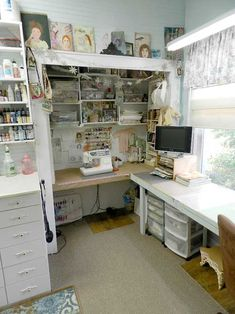 Shabby Cottage Studio craft room - sewing nook tucked into a closet - great idea!